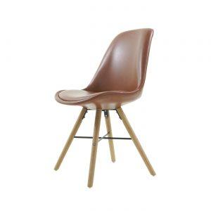 Essence Medina stoel - Kunstleren zitting - Houten onderstel - kuipstoel - retro ? Scandinavisch ? vintage - als Velli