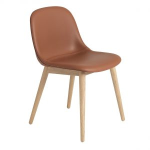 Muuto Fiber Side Wood gestoffeerde stoel Prescott Leather cognac