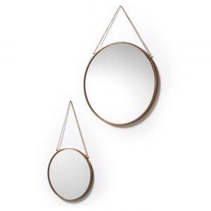 LaForma Niko Mirror - Ronde wandspiegel (set van 2) - Koper -