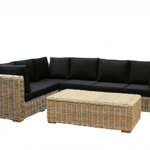 Nissah XL hoek loungeset links 3-delig naturel rotan