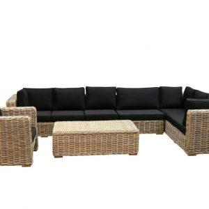 Nissah XL hoek loungeset rechts 5-delig naturel rotan