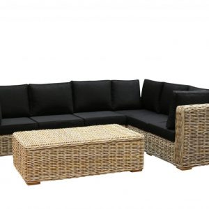 Nissah XL hoek loungeset rechts 3-delig naturel rotan