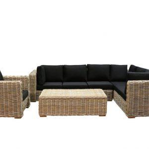 Nissah XL hoek loungeset rechts 4-delig naturel rotan