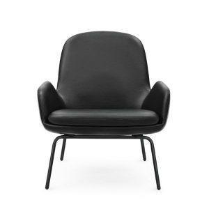 Normann Copenhagen Era Lounge Chair Low loungestoel met zwart stalen onderstel Leder Tango zwart