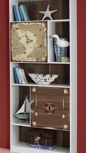 Boekenkast Piet Piraat - 151 x 197 x 67 cm - Alpine wit/Piraten thema