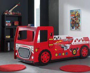 Brandweer autobed + led - 90 x 200 cm - Rood