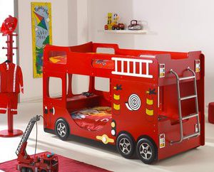 Brandweer stapelbed - 90 x 200 cm - Rood