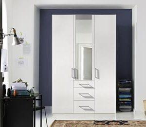 Draaideurkast Bern Plus met laden - 150 x 216 x 58 cm (3 deuren) - Poolwit