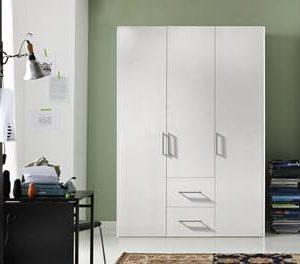Draaideurkast Bern met laden - 150 x 216 x 58 cm (3 deuren) - Poolwit