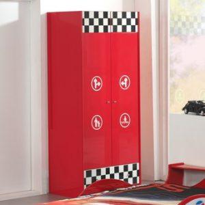 Draaideurkast Mike - 90 x 190 x 56 cm (2 deuren) - Rood