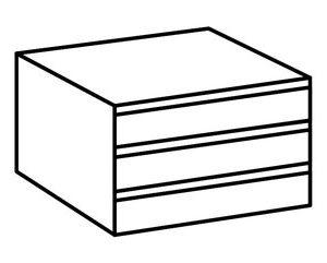 Ladeblok (3 laden) voor zweefdeurkast Sara - 52 x 58 x 38 cm -