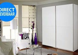 Zweefdeurkast Santiago - 136 x 197 x 61 cm (2 deuren) - Alpine wit