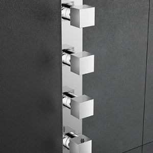 Hotbath Bloke Q050 inbouw douchethermostaat met 3 stopkranen (verticale plaatsing) geborsteld nikkel