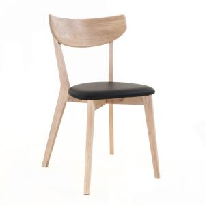 Nordiq Ami chair | Whitewashed Oak | Zwart kussen - retro design - stoel - whitewash