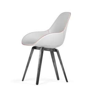 Kubikoff Slice stoel - Dimple Tailored shell - Leer - Grijs onderstel -