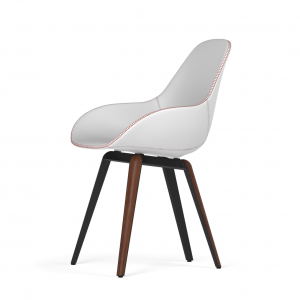 Kubikoff Slice stoel - Dimple Tailored shell - Leer - Zwart met walnoten onderstel -