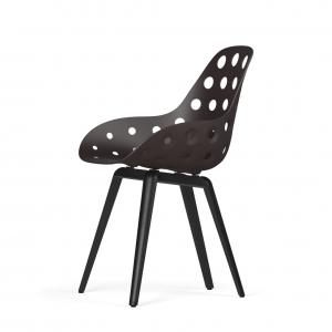 Kubikoff Slice stoel - Dimple Holes - Zwart met zwarthout onderstel -
