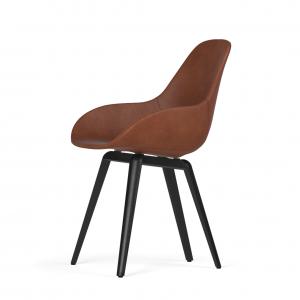 Kubikoff Slice stoel - Dimple POP shell - Leer - Zwart met zwarthout onderstel -