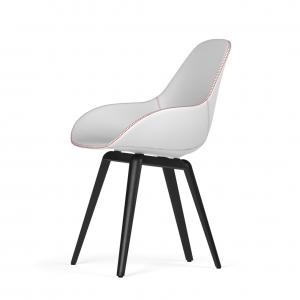 Kubikoff Slice stoel - Dimple Tailored shell - Leer - Zwart met zwarthout onderstel -