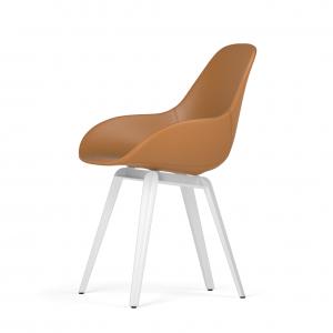 Kubikoff Slice stoel - Dimple POP shell - Leer - Wit onderstel -