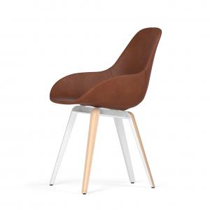 Kubikoff Slice stoel - Dimple POP shell - Leer - Wit met eiken onderstel -