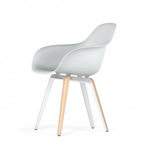 Kubikoff Slice stoel - V9 Armshell - Wit met eiken onderstel -