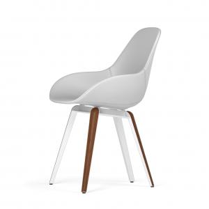 Kubikoff Slice stoel - Dimple POP shell - Kunstleer - Wit met walnoten onderstel -