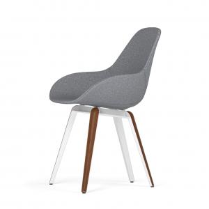 Kubikoff Slice stoel - Dimple POP shell - Stof - Wit met walnoten onderstel -