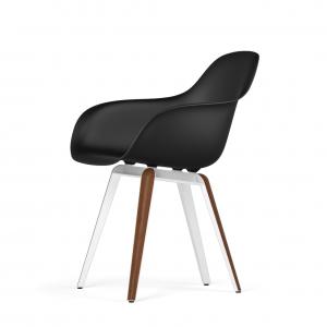 Kubikoff Slice stoel - V9 Armshell - Wit met walnoten onderstel -