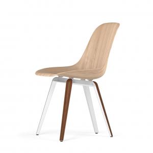 Kubikoff Slice stoel - W9 Side Chair Shell - Wit met walnoten onderstel -