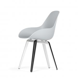 Kubikoff Slice stoel - Dimple Closed - Wit met zwarthout onderstel -