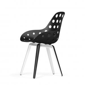 Kubikoff Slice stoel - Dimple Holes - Wit met zwarthout onderstel -