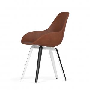 Kubikoff Slice stoel - Dimple POP shell - Leer - Wit met zwarthout onderstel -