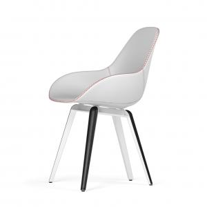 Kubikoff Slice stoel - Dimple Tailored shell - Leer - Wit met zwarthout onderstel -