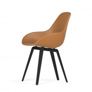 Kubikoff Slice stoel - Dimple POP shell - Leer - Zwart onderstel -