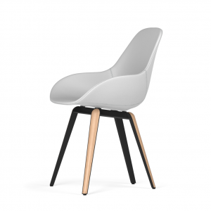 Kubikoff Slice stoel - Dimple POP shell - Kunstleer - Zwart met eiken onderstel -
