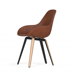 Kubikoff Slice stoel - Dimple POP shell - Leer - Zwart met eiken onderstel -