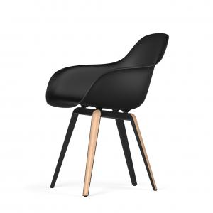Kubikoff Slice stoel - V9 Armshell - Zwart met eiken onderstel -