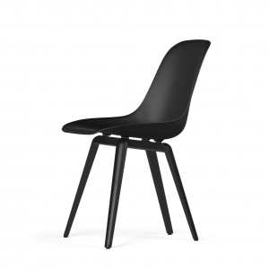 Kubikoff Slice stoel - V9 Side Chair Shell - Zwart met zwarthout onderstel -