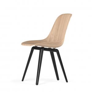 Kubikoff Slice stoel - W9 Side Chair Shell - Zwart met zwarthout onderstel -