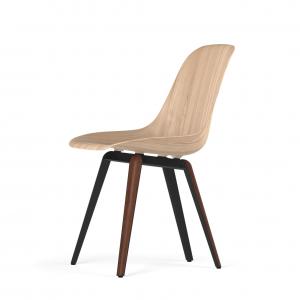 Kubikoff Slice stoel - W9 Side Chair Shell - Zwart met walnoten onderstel -