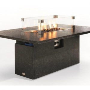 Etna lounge-diningtafel 145x90xH67 cm 2 cm graniet pearl black satinado