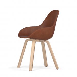 Kubikoff U base stoel - Dimple POP shell - Leer - Houten onderstel -