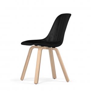 Kubikoff U base stoel - W9 Side Chair Shell - Houten onderstel -