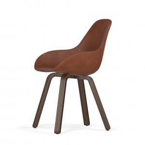 Kubikoff U base stoel - Dimple POP shell - Leer - Walnoten onderstel -