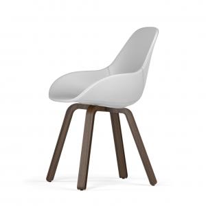 Kubikoff U base stoel - Dimple POP shell - Kunstleer - Walnoten onderstel -