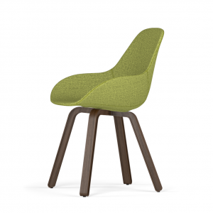 Kubikoff U base stoel - Dimple POP shell - Stof - Walnoten onderstel -