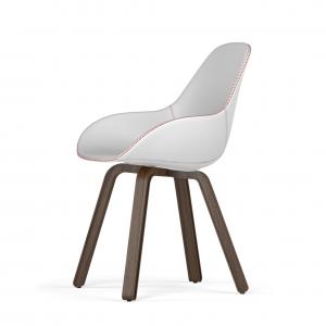 Kubikoff U base stoel - Dimple Tailored shell - Leer - Walnoten onderstel -
