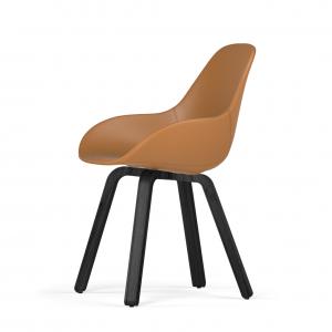 Kubikoff U base stoel - Dimple POP shell - Leer - Zwart onderstel -
