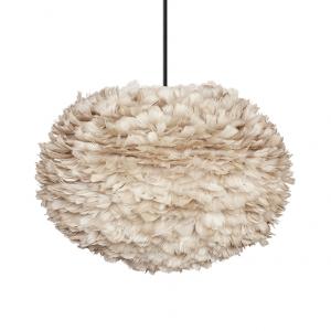 VITA lampen EOS Licht Bruin - Large ? 65 cm - Hanglamp - Zwart koordset - Scandinavische veren lamp - Hanglamp met een prachtige lichtval!